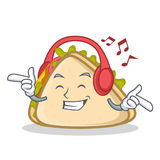 Listening music sandwich character cartoon style. Vector illustration Stock Images