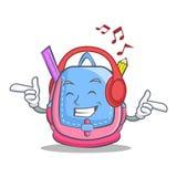 Listening music school bag character cartoon. Vector illustration Royalty Free Stock Photos