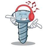 Listening music screw character cartoon style. Vector illustration Royalty Free Stock Image