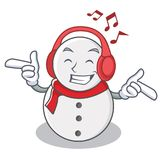 Listening music snowman character cartoon style. Vector illustration Stock Images