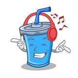 Listening music soda drink character cartoon Royalty Free Stock Images