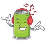 Listening music soft drink character cartoon. Vector illustration Stock Photo