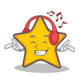 Listening music star character cartoon style Royalty Free Stock Image