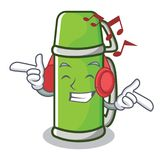 Listening music thermos character cartoon style. Vector illustration Royalty Free Stock Images