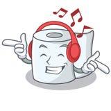 Listening music tissue character cartoon style. Vector illustration Stock Images