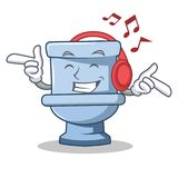 Listening music toilet character cartoon style. Vector illustration Stock Photography