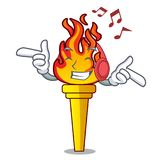 Listening music torch mascot cartoon style. Vector illustration Royalty Free Stock Photography
