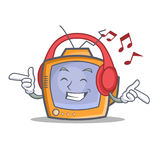 Listening music TV character cartoon object. Vector illustration Royalty Free Stock Photography