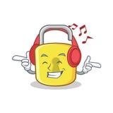 Listening music yellow lock character mascot. Vector illustration Stock Photo