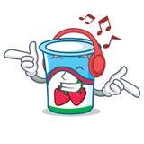 Listening music yogurt mascot cartoon style. Vector illustration Stock Photo