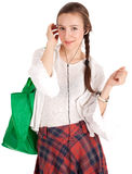 Listening music young woman with shopping bag Royalty Free Stock Photo