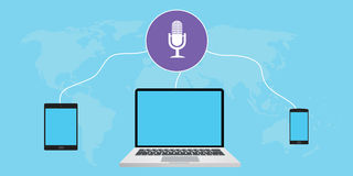 Listening podcast. Use cross-platform, computer, tab, and smarthphone Royalty Free Stock Image