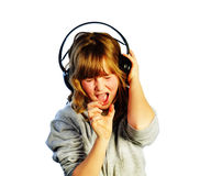 Listening and Singing Royalty Free Stock Photo