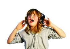 Listening and Singing Royalty Free Stock Image