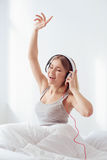 Listening to the good music all day long Stock Image