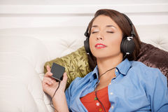Listening to her favourite music. Stock Photo