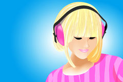 Listening to music. Stock Images