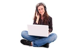 Listening to music Stock Photo