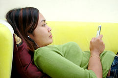 Listening to the music Stock Photos