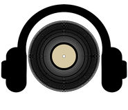 Listening to music. Headphones listening to a record lp - illustration Royalty Free Stock Images