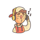 Listening To Music Boy In Cap And College Jacket Hand Drawn Emoji Cool Outlined Portrait Stock Photo