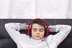 Listening to music Stock Photo