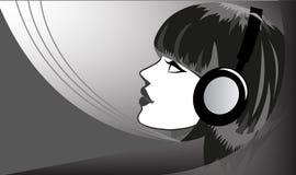 Listening To Music. Girl listening to music background illustration stock illustration