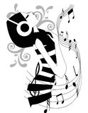 Listening To Music royalty free illustration
