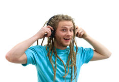 Listening to Music on Headphones Royalty Free Stock Image