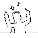 Listening to music through headphones. Black line art illustration of someone listening to music Royalty Free Stock Image