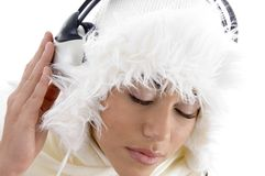 listening to music with headphones Royalty Free Stock Photos