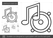 Listening to music line icon. Stock Photos