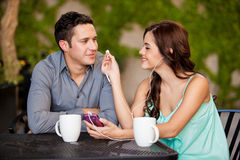 Listening to music together Stock Photo