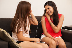 Listening to music together Stock Images