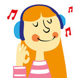 Listening to Music. A young girl with ginger hair smiling and listening to music on a pair of headphones gives an okay sign with her hand vector illustration