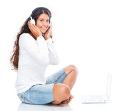 Listening to online music Royalty Free Stock Photo