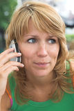 Listening to the phone Royalty Free Stock Photography