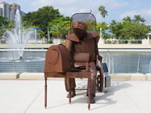 Listening to the Radio. Sculpture in Downtown Fort Myers, Florida Stock Images