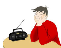 Listening to the Radio Royalty Free Stock Photography