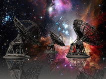 Listening to the universe. Three giant radio-telescope with its reflects, on a stars background Royalty Free Stock Image