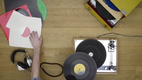 Listening to vinyl records stock video