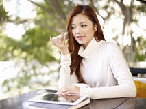 Listening to voice message Royalty Free Stock Photography