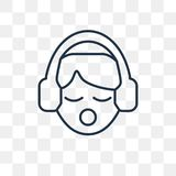 Listening vector icon isolated on transparent background, linear stock illustration