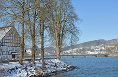 Listersee Reservoir,Sauerland,Germany. Winter Landscape at Listersee Reservoir in Sauerland near Olpe,Germany Royalty Free Stock Photo
