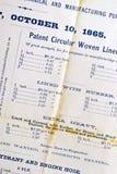 Listes des prix antiques Images stock