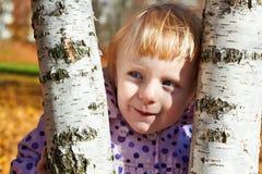Listig liten flicka med björken Royaltyfri Fotografi