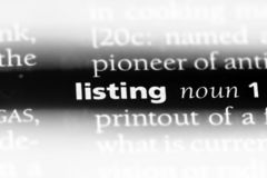 Listing. Word in a dictionary.  concept Stock Image