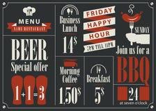 Listino prezzi per il menu del ristorante Immagine Stock