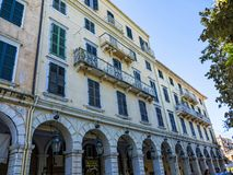 The Liston Arcade in the main town on the the Greek island of Corfu. The city of Corfu stands on the broad part of a peninsula, whose termination in the Venetian Royalty Free Stock Photography