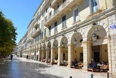 Liston, cidade de Corfu imagem de stock